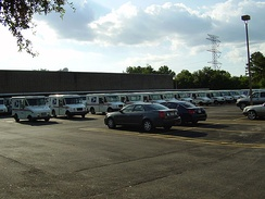 A fleet of post office vehicles at the James Griffith Station in Spring Branch, Houston
