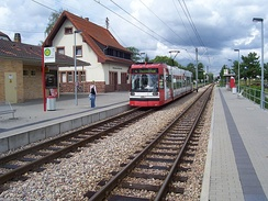 Ludwigshafen tramway set operating as line 4 at Wallstadt OEG station