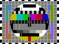 "Test card showing ""Hanover bars"" (color banding phase effect) in Pal S (simple) signal mode of transmission."