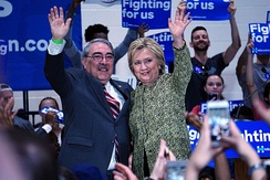 Butterfield and Hillary Clinton at Hillside High School in Durham, North Carolina, March 2016