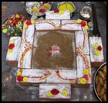 A homa altar with offerings