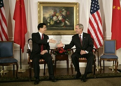 President Bush with China's president and Communist Party leader Hu Jintao, 2006