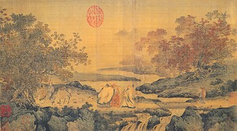 "Song Dynasty painting in the Litang style illustrating the theme ""Confucianism, Taoism and Buddhism are one"". Depicts Taoist Lu Xiujing (left), official Tao Yuanming (right) and Buddhist monk Huiyuan (center, founder of Pure Land) by the Tiger stream. The stream borders a zone infested by tigers that they just crossed without fear, engrossed as they were in their discussion. Realising what they just did, they laugh together, hence the name of the picture,Three laughing men by the Tiger stream."