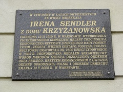 A bronze plaque in Piotrków Trybunalski telling some of her story.