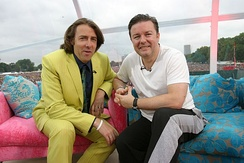 Gervais (right) with Jonathan Ross at Live 8 in July 2005