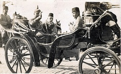 Visit of Kaiser Wilhelm II to Constantinople in October 1917 with Mehmed V and Enver Pasha. The Ottomans joined World War I on the side of the Central Powers and suffered heavy losses. Overall, the total number of combatant casualties in the Ottoman forces amounts to just under half of all those mobilised to fight. Of these, more than 800,000 were killed. However, four out of every five Ottoman subjects who died were non-combatants.[82]