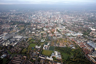 Aerial view of Manchester city centre from the south in 2008.