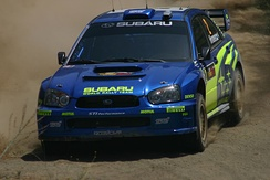 Hirvonen with a Subaru Impreza WRC at the 2004 Cyprus Rally.