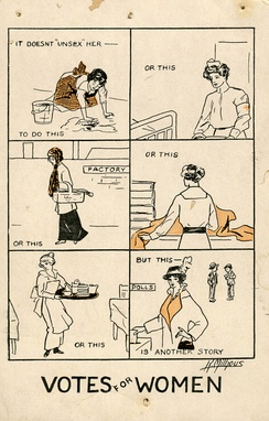 It Doesn't Unsex Her–a women's suffrage postcard from 1915