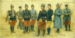 Test uniforms created in 1912 by Edouard Detaille for the line infantry. They were never adopted, but the blue-grey coats and the burgonet-style leather helmets influenced later uniforms