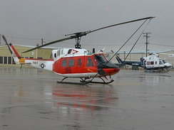 Comparison of the Bell 212 (U.S. Navy HH-1N) and 412 (Mercy Air) at the Mojave Airport