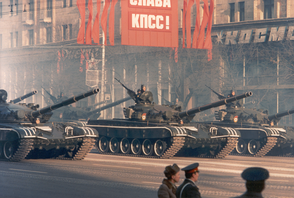 Soviet Army T-72A tanks during the 1983 October Revolution celebration in Moscow