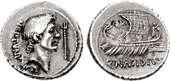 Denarius by Sextus Pompeius. 44–43 BC. AR Denarius (3.85 g, 3h). Massilia (Gaul) mint. Q. Nasidius, moneyer. Bare head of Pompey the Great right; trident before, dolphin below / Ship sailing right; star above.