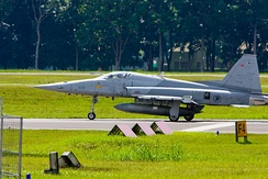 An F-5S belonging to the Singaporean air force's 144 Squadron prepares for takeoff