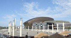 Roald Dahl Plass, outside the Millennium Centre, acts as the exterior of the hub in the series Torchwood