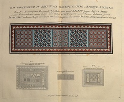 Roman mosaics from Wellow, Somerset near Bath, England, double page spread in volume 1, in an 1826 reprint