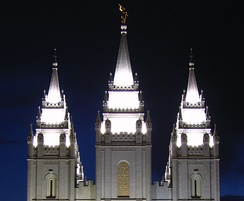 The spires of the Salt Lake Temple at night