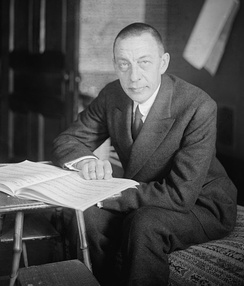 Rachmaninoff with a piano score