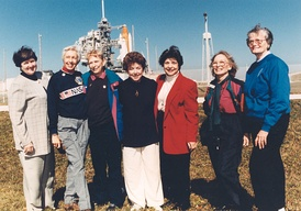 Seven surviving FLATS attending the STS-63 launch.(from left): Gene Nora Jessen, Wally Funk, Jerrie Cobb, Jerri Truhill, Sarah Rutley, Myrtle Cagle and Bernice Steadman.