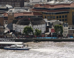 The reconstructed Globe Theatre on the south bank of the River Thames in London