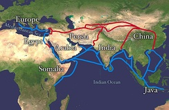 Silk Road and Spice trade, ancient trade routes that linked India with the Old World, carried goods and ideas between the ancient civilisations of the Old World and India. The land routes are red; the water routes are blue.