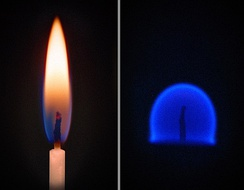 Fire is affected by gravity. Left: Flame on Earth; Right: Flame on the ISS