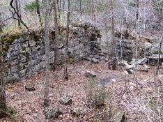 The ruins of the Stone Fort Paper Mill near Big Falls at the Old Stone Fort's northwestern section