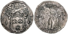 Barberini coat-of-arms (three bees) surmounted by papal tiara and crossed keys on coin struck for Pope Urban VIII.