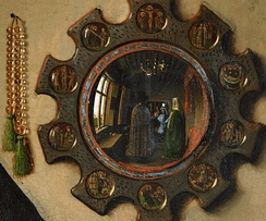 Realist or illusionistic detail of the convex mirror in the Arnolfini Portrait by Jan van Eyck, 1434
