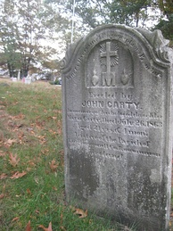 Gravestone in Boston Catholic cemetery erected in memory of County Roscommon native born shortly before the Great Famine