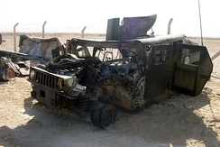 The humvee Staff Sgt. Michael F. Barrett, military policeman, Marine Wing Support Squadron 373, was riding when it was struck by an improvised explosive device attack in Iraq Sept. 29, 2004. Barrett was severely injured in the attack and is still recovering from his wounds.