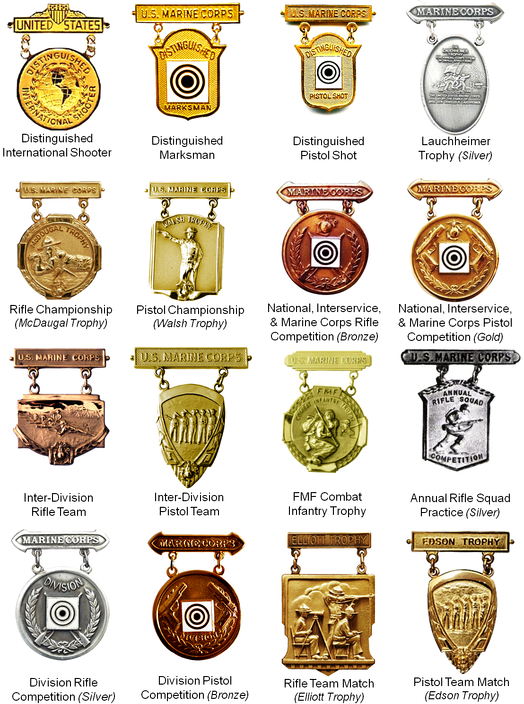 Examples of U.S. Marine Corps marksmanship competition badges (not inclusive)
