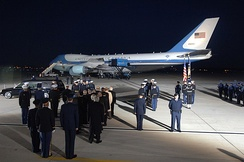The casket of President Gerald Ford being lowered from the cabin of SAM 29000 at Andrews Air Force Base, Maryland, 2006.