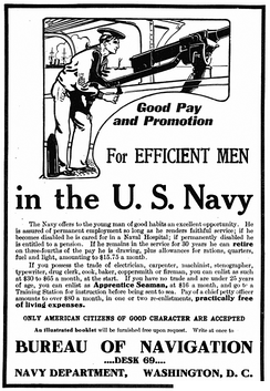 U.S. Navy recruitment advertisement in Popular Mechanics, 1908.