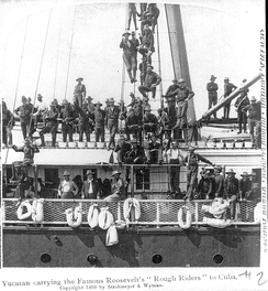 Rough Riders heading to Cuba aboard the steamship Yucatan.