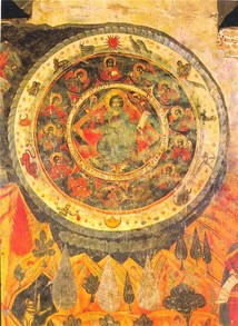 A 17th-century fresco from the Cathedral of Living Pillar in Georgia depicting Jesus within the Zodiac circle.