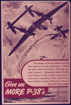 Wartime poster encouraging greater production of P-38s