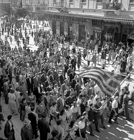 People in Athens celebrate the liberation from the Axis powers, October 1944. Postwar Greece would soon experience a civil war and political polarization.