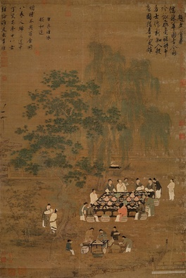 A Chinese painting of an outdoor banquet, a Song Dynasty painting and possible remake of a Tang Dynasty original.