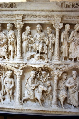 Detail - cast of the central sections of the Sarcophagus of Junius Bassus, with Traditio Legis and Jesus entering Jerusalem.