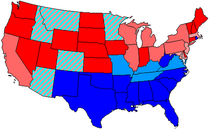 House seats by party holding majority in state     up to 100% Republican    up to 100% Democratic     up to 80% Republican    up to 80% Democratic     up to 60% Republican    up to 60% Democratic