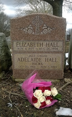 Adelaide Hall's grave at Cemetery of the Evergreens in Brooklyn, New York, Terrace Hill Section, Grave 1252, March 2018