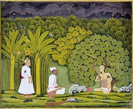 Akbar watching as Tansen receives a lesson from Swami Haridas. Imaginary situation depicted in Mughal miniature painting (Rajasthani style, c. 1750 AD).