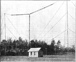 Cage T antenna used by amateur radio transmitter on 1.5 MHz.