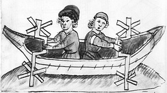 A 15th-century paddlewheel boat powered by crankshafts (Anonymous of the Hussite Wars)