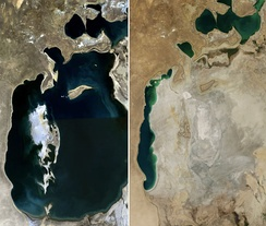 One of the many impacts of the approach to the environment in the USSR is the Aral Sea (see status in 1989 and 2014)