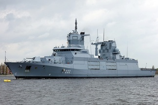 Baden-Württemberg, an F125-class frigate of the German Navy; currently the biggest frigates worldwide. In size and role they are qualified as destroyers