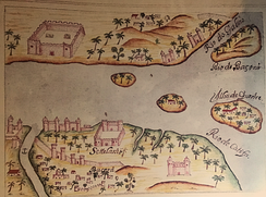 "Basra designed by the Portuguese at the end of the 16th century, according to the representation of the ""Lyvro de plantaforma of the fortresses of India"" codex of São julião da Barra"