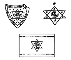 Max Bodenheimer's (top left) and Herzl's (top right) 1897 drafts of the Zionist flag, compared to the final version used at the 1897 First Zionist Congress (bottom)