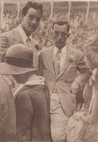 Keaton (right) and Gilbert Roland in San Sebastián, Spain, in August 1930